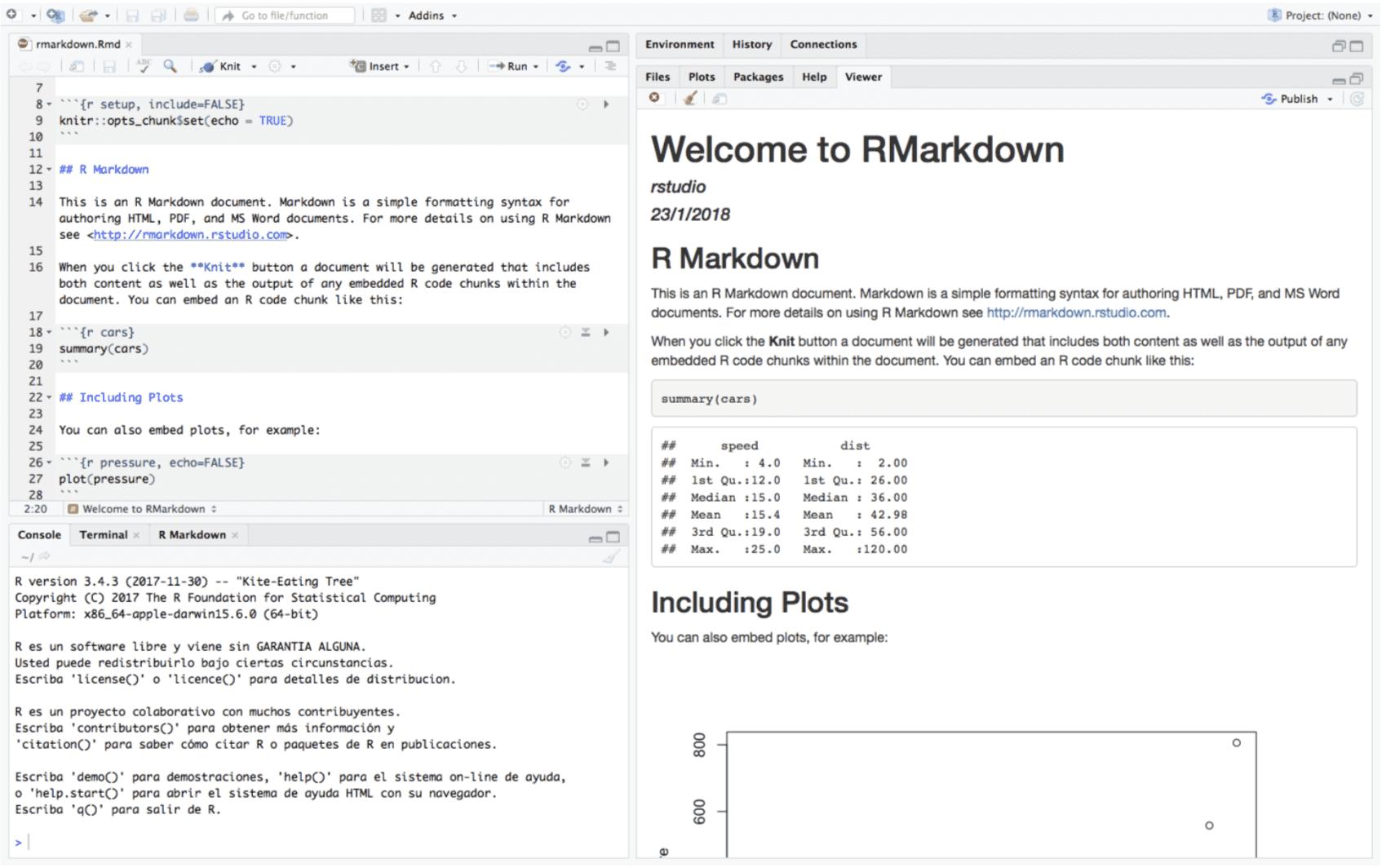 cómo trabajar conRMarkdown desde RStudio/R