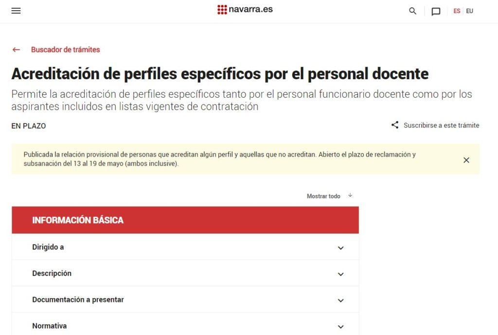 Acreditación de perfiles espcíficos en Navarra
