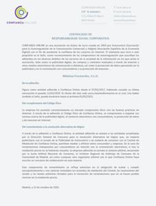 Certificado RSC Máxima Formación S.L.U.